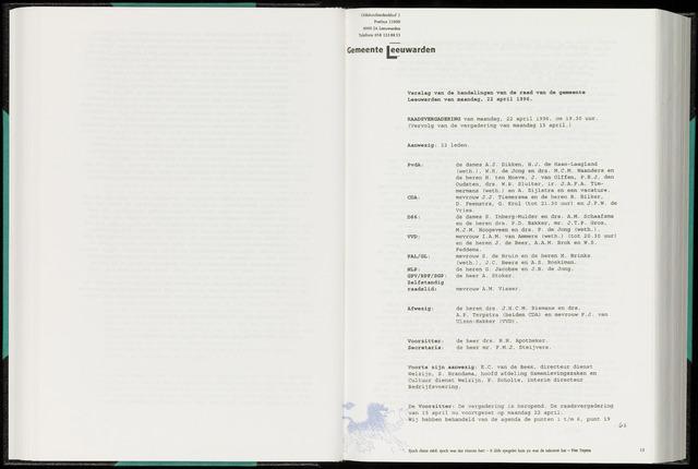 Raadsverslagen van de gemeente Leeuwarden, 1865-2007 (Notulen) 1996-04-22