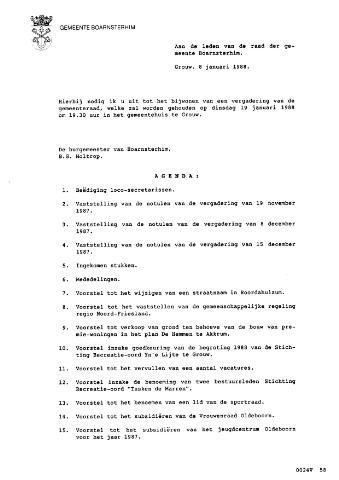 Boarnsterhim vergaderstukken gemeenteraad  1988