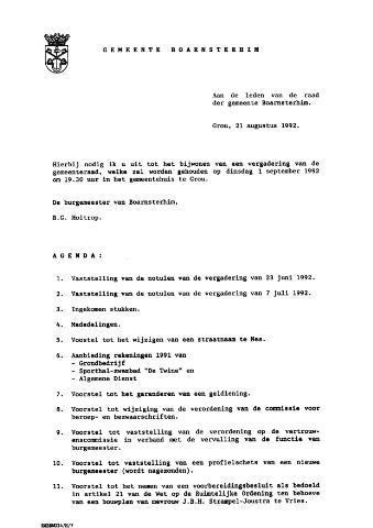 Boarnsterhim vergaderstukken gemeenteraad  1992-09-01