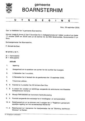 Boarnsterhim vergaderstukken gemeenteraad  2005-10-11