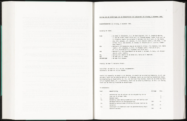 Raadsverslagen van de gemeente Leeuwarden, 1865-2007 (Notulen) 1988-12-06