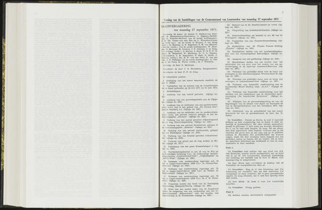 Raadsverslagen van de gemeente Leeuwarden, 1865-2007 (Notulen) 1971-09-27