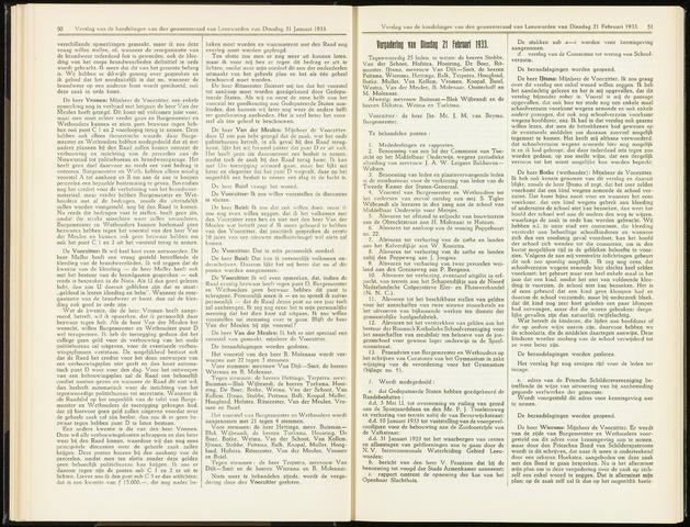 Raadsverslagen van de gemeente Leeuwarden, 1865-2007 (Notulen) 1933-02-21