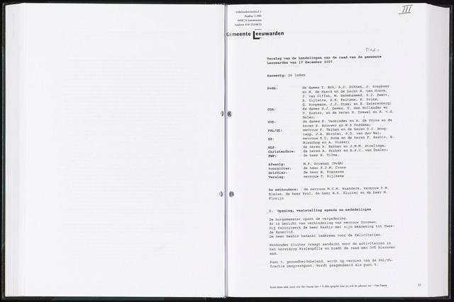 Raadsverslagen van de gemeente Leeuwarden, 1865-2007 (Notulen) 2007-12-17