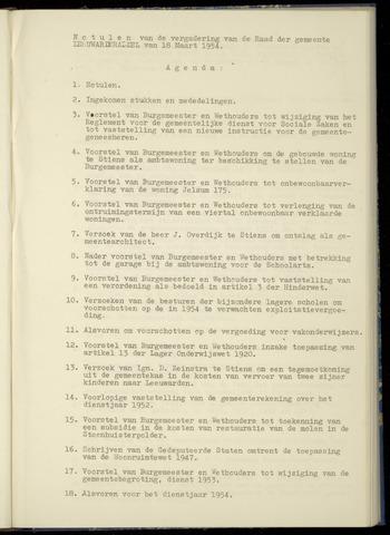 Notulen van de gemeenteraad van Leeuwarderadeel 1954-03-18