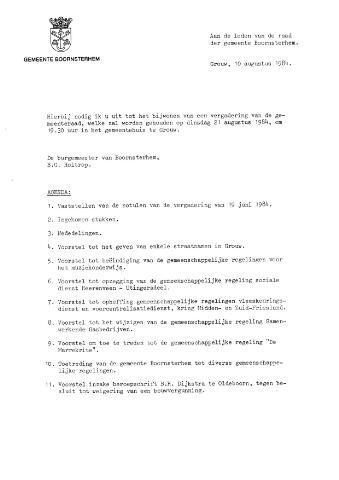 Boarnsterhim vergaderstukken gemeenteraad  1984-08-21