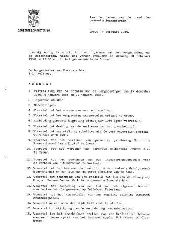 Boarnsterhim vergaderstukken gemeenteraad  1986-02-18