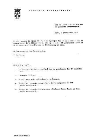 Boarnsterhim vergaderstukken gemeenteraad  2000