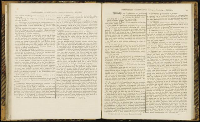 Raadsverslagen van de gemeente Leeuwarden, 1865-2007 (Notulen) 1870-07-14