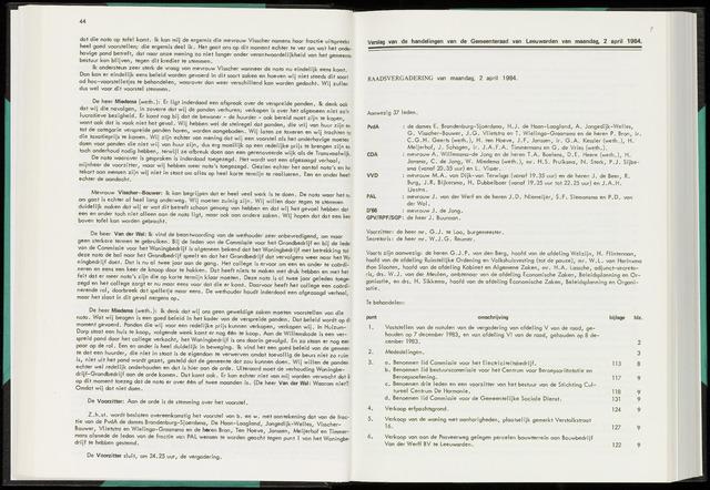 Raadsverslagen van de gemeente Leeuwarden, 1865-2007 (Notulen) 1984-04-02