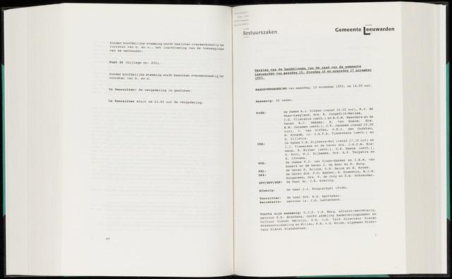 Raadsverslagen van de gemeente Leeuwarden, 1865-2007 (Notulen) 1993-11-15