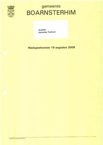 Boarnsterhim vergaderstukken gemeenteraad  2008-08-19