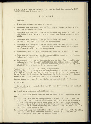 Notulen van de gemeenteraad van Leeuwarderadeel 1953-08-05