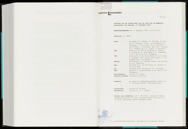 Raadsverslagen van de gemeente Leeuwarden, 1865-2007 (Notulen) 2001-12-17
