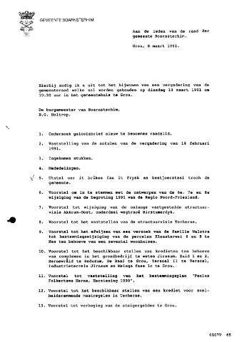 Boarnsterhim vergaderstukken gemeenteraad  1991-03-19