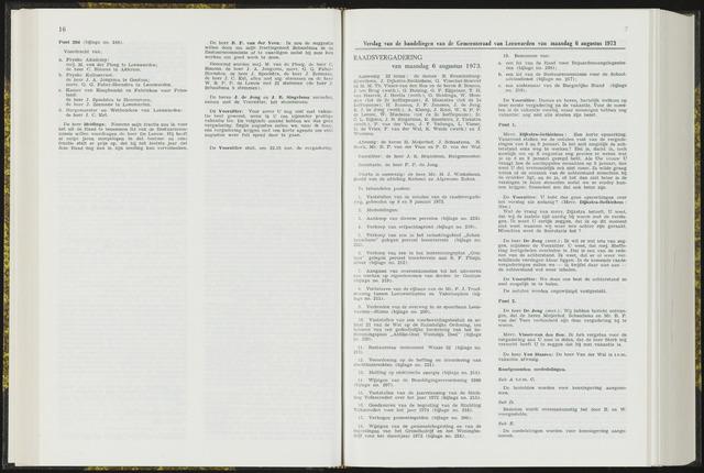 Raadsverslagen van de gemeente Leeuwarden, 1865-2007 (Notulen) 1973-08-06