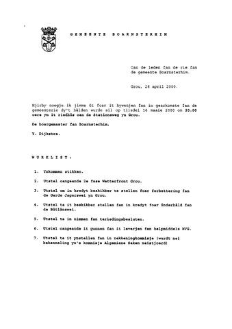 Boarnsterhim vergaderstukken gemeenteraad  2000-05-16