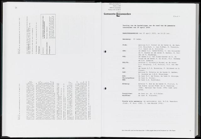 Raadsverslagen van de gemeente Leeuwarden, 1865-2007 (Notulen) 2005-04-25