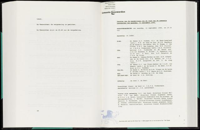 Raadsverslagen van de gemeente Leeuwarden, 1865-2007 (Notulen) 1995-09-11