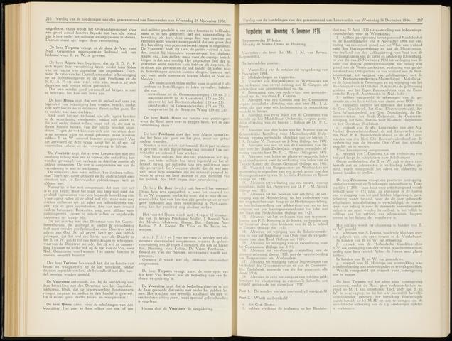 Raadsverslagen van de gemeente Leeuwarden, 1865-2007 (Notulen) 1936-12-16