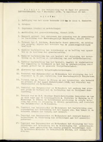 Notulen van de gemeenteraad van Leeuwarderadeel 1950-09-07