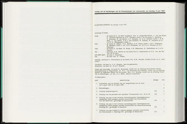 Raadsverslagen van de gemeente Leeuwarden, 1865-2007 (Notulen) 1987-06-09