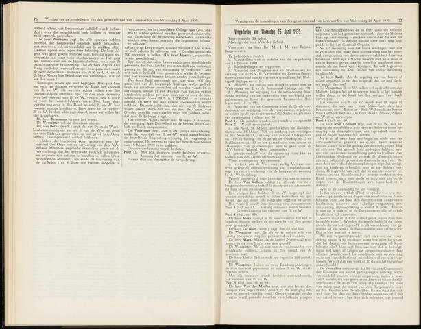 Raadsverslagen van de gemeente Leeuwarden, 1865-2007 (Notulen) 1939-04-26