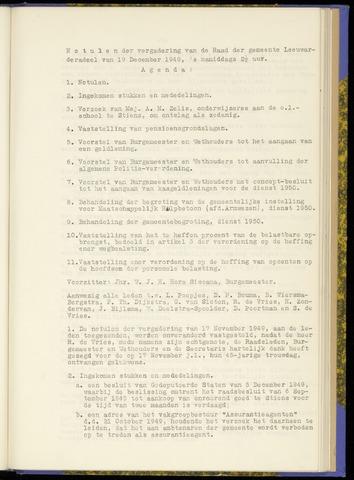 Notulen van de gemeenteraad van Leeuwarderadeel 1949-12-19