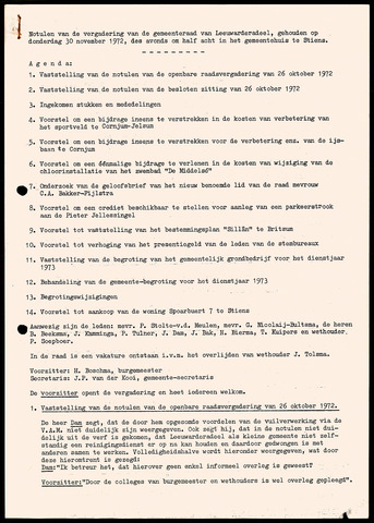 Notulen van de gemeenteraad van Leeuwarderadeel 1972-11-30