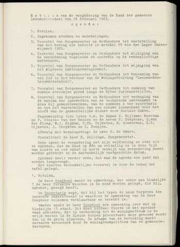 Notulen van de gemeenteraad van Leeuwarderadeel 1963-02-26