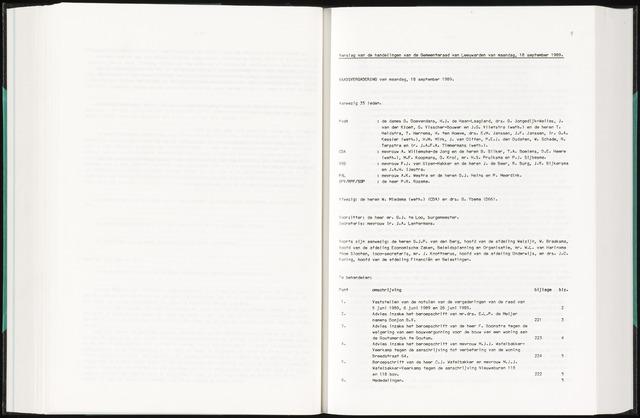 Raadsverslagen van de gemeente Leeuwarden, 1865-2007 (Notulen) 1989-09-18