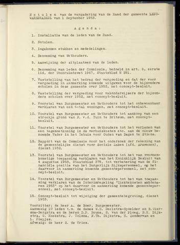 Notulen van de gemeenteraad van Leeuwarderadeel 1953-09-01