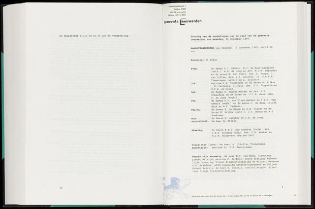 Raadsverslagen van de gemeente Leeuwarden, 1865-2007 (Notulen) 1995-11-13