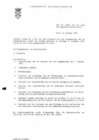 Boarnsterhim vergaderstukken gemeenteraad  1997-11-11