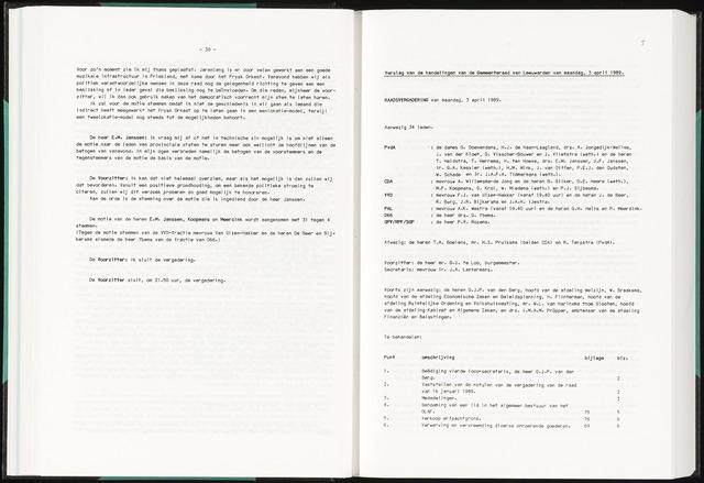 Raadsverslagen van de gemeente Leeuwarden, 1865-2007 (Notulen) 1989-04-03