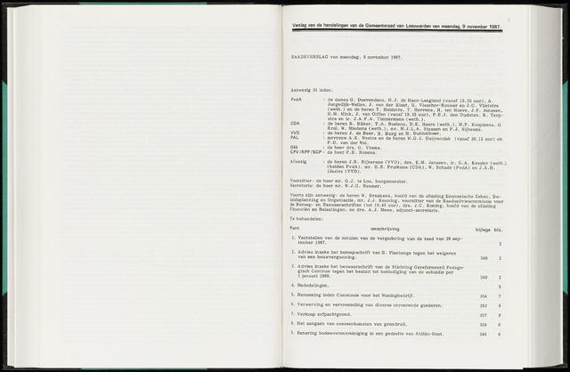 Raadsverslagen van de gemeente Leeuwarden, 1865-2007 (Notulen) 1987-11-09