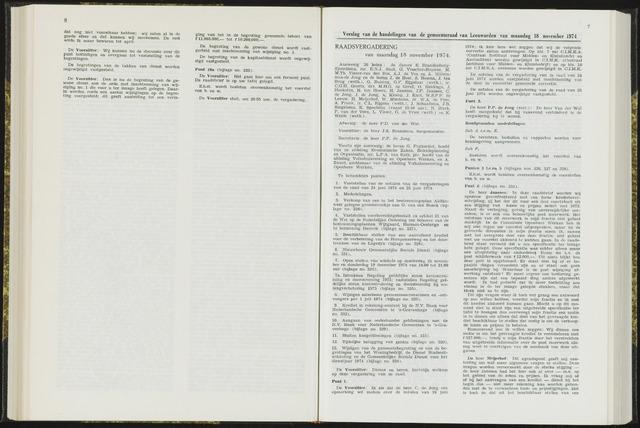 Raadsverslagen van de gemeente Leeuwarden, 1865-2007 (Notulen) 1974-11-18