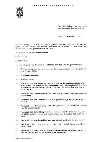 Boarnsterhim vergaderstukken gemeenteraad  1995-09-12