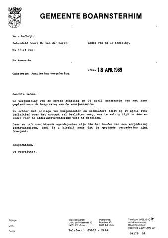 Boarnsterhim vergaderstukken gemeenteraad  1989-04-26