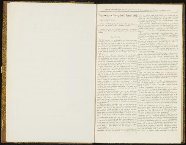 Raadsverslagen van de gemeente Leeuwarden, 1865-2007 (Notulen) 1892