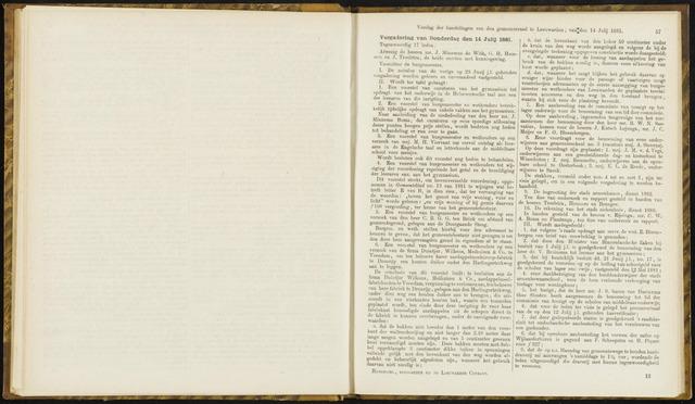 Raadsverslagen van de gemeente Leeuwarden, 1865-2007 (Notulen) 1881-07-14