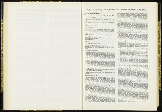 Raadsverslagen van de gemeente Leeuwarden, 1865-2007 (Notulen) 1959-05-25