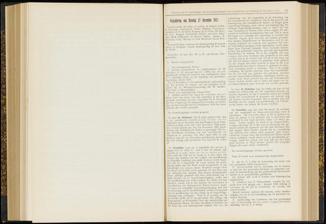 Raadsverslagen van de gemeente Leeuwarden, 1865-2007 (Notulen) 1921-12-27