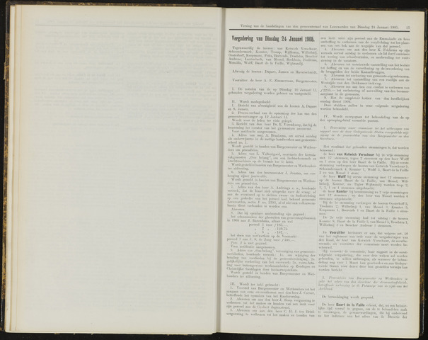 Raadsverslagen van de gemeente Leeuwarden, 1865-2007 (Notulen) 1905-01-24
