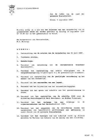 Boarnsterhim vergaderstukken gemeenteraad  1987-09-15
