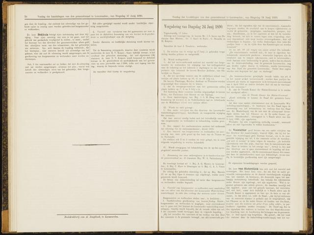 Raadsverslagen van de gemeente Leeuwarden, 1865-2007 (Notulen) 1890-06-24
