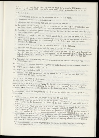 Notulen van de gemeenteraad van Leeuwarderadeel 1966-06-17