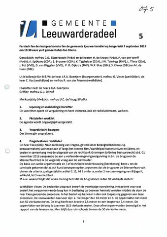 Notulen van de gemeenteraad van Leeuwarderadeel 2017-09-28