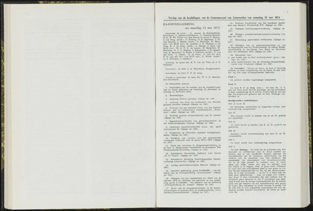 Raadsverslagen van de gemeente Leeuwarden, 1865-2007 (Notulen) 1974-05-13