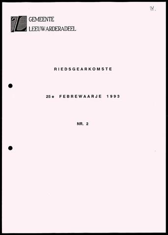 Notulen van de gemeenteraad van Leeuwarderadeel 1993-02-25